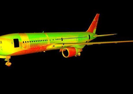 סריקת לייזר תלת מימדית של מטוסים